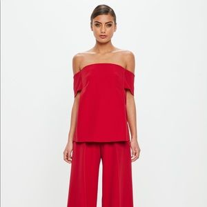 Missguided peace + love red bardot crepe top